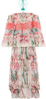 Roberto Cavalli Phoenix Off-the-shoulder Plissé Printed Silk-chiffon Gown - Peach