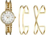 Anne Klein Women's AK/2236GBST Swarovski Crystal-Accented Gold-Tone Open-Bangle Watch and Bracelet Set