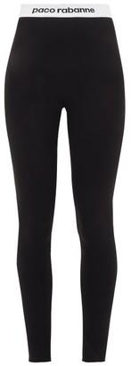 Paco Rabanne Logo-hem Jersey Stirrup Leggings - Black