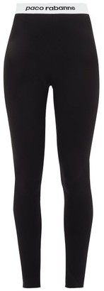 Paco Rabanne Logo-hem Jersey Stirrup Leggings - Womens - Black