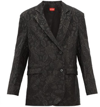 Art School - Oversized Floral-brocade Jacket - Womens - Black