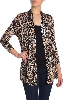 Bobeau Leopard Print Ruched Sleeve Cardigan (Regular & Petite)