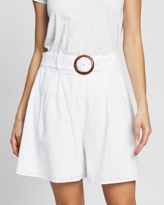 Review Women's White High-Waisted - Oceana Shorts - Size One Size, 6 at The Iconic