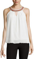 BY AND BY by&by Necklace-Trim Bubble-Hem Tank Top