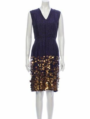 Dries Van Noten Silk Knee-Length Dress Blue