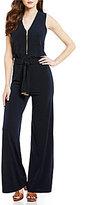 MICHAEL Michael Kors Front Zipper Wide-Leg Matte Jersey Jumpsuit