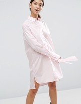 Asos Cotton Shirt Dress with Oversized Cuff & Bow Detail
