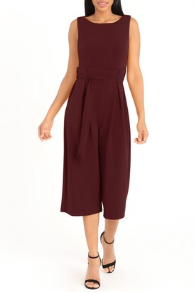 London Times Crepe Pleated Paperbag Waist Jumpsuit