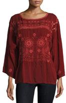 Johnny Was Lemma Embroidered Dolman Top, Port, Plus Size