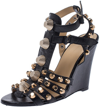 Balenciaga Black Leather Arena Studded Gladiator Wedge Sandals Size 38.5