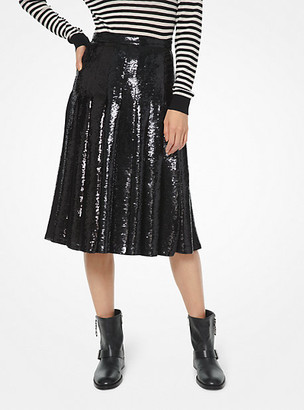 MICHAEL Michael Kors MK Sequined Georgette Pleated Skirt - Black - Michael Kors