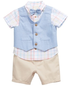 First Impressions Baby Boys 3-Pc. Cotton Vest, Plaid Shirt & Shorts Set, Created for Macy's
