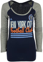 adidas Women's Long-Sleeve New York City FC 3-Stripe Stack T-Shirt