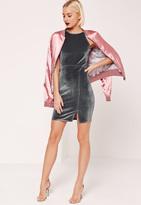 Missguided 90's Neck Split Hem Velvet Bodycon Dress Grey