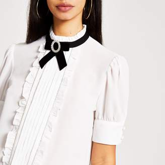 River Island Womens White bow embellished collar frill blouse