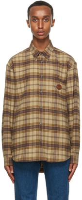 Gucci Brown and Khaki Check Flannel Shirt