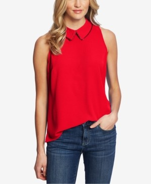 CeCe Solid Collared Woven Top