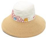 Kilometre Paris - Paris Coordinates Canvas And Straw Bucket Hat - Womens - Cream Multi