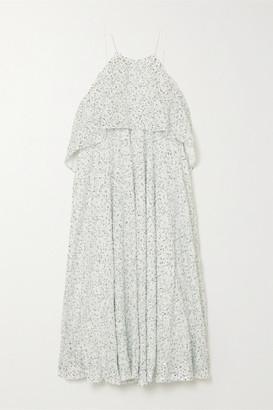 Halpern Tiered Sequined Georgette Midi Dress - Light green