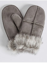 M&S Collection Fur Mitten Gloves