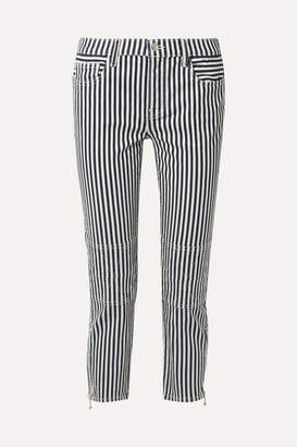 Current/Elliott The Cropped Lexton Striped High-rise Slim-leg Jeans - Navy