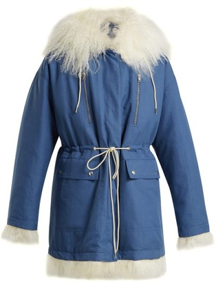 Calvin Klein Reversible Cotton And Shearling Parka - Womens - Blue White
