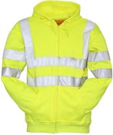FK Styles Mens Hi Visibility Zipped Fleece Warm Reflective Sweatshirt