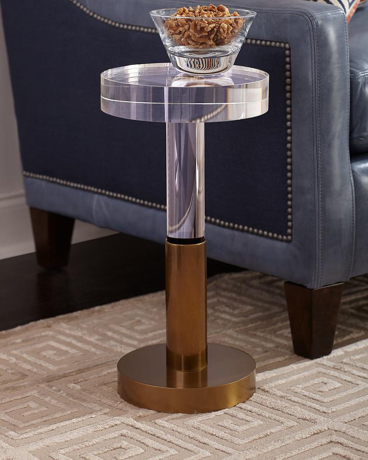 John-Richard Collection Crystal and Brass Martini Side Table