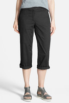 Eileen Fisher Cotton Blend Tab Cuff Capri Pants