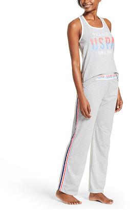 U.S. Polo Assn. Women's Sleep Bottoms HGRY - Heather Gray Logo Stripe Pajama Set - Women