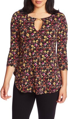 Chaus Mountain Blossom Keyhole Neck Top