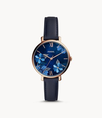 Fossil Jacqueline Three-Hand Navy Leather Watch jewelry