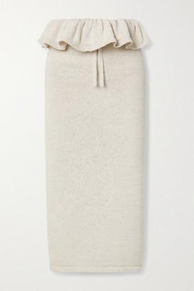 Cult Gaia Lavina Ruffled Cotton-blend Midi Skirt - Beige