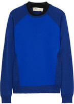 Jersey-paneled wool-blend sweater