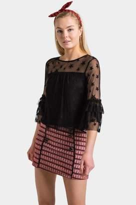 francesca's Linette Sheer Star Blouse - Black