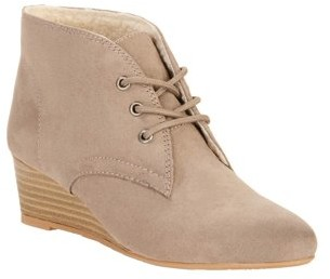 Melrose Ave Vegan Suede Shearling-Lined Lace Up Wedge Heel Bootie (Women's)