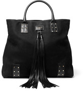 Balmain Domaine Leather-Trimmed Nubuck Tote Bag