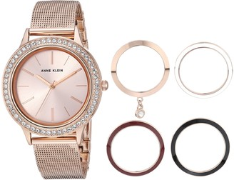 Anne Klein Women's Rose Gold-Tone Mesh Bracelet Watch and Interchangeable Bezel Set