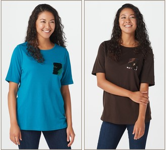 Factory Quacker Set of Two T-Shirts with Sequin Flip Mini Pocket