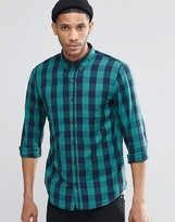 Pull&bear Check Shirt In Green And Navy In Regular Fit