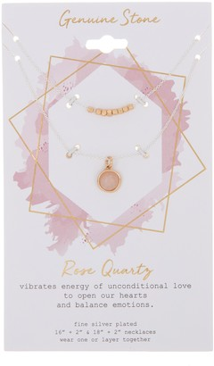 Two-Tone Bead & Rose Quartz Pendant Necklace