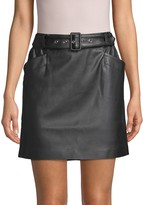 Laundry by Shelli Segal Belted Faux Leather Mini Skirt
