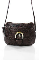 B. Makowsky Brown Embossed Leather Gold Tone Small Round Crossbody Bag
