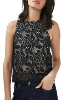 Topshop Women's Animal Lace Cross Back Sleeveless Top