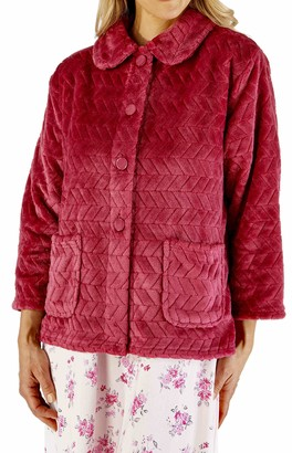 "Slenderella Ladies 3/4 Sleeve 25"" Soft Dark Pink Fleece Large Button Up Bed Jacket with Two Patch Pockets Small 10 12"