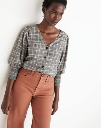 Madewell Plaid Smocked-Cuff Button-Front Shirt