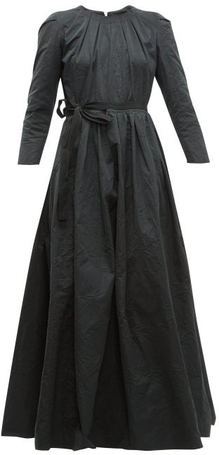 Brock Collection Pia Tie Waist Taffeta Dress - Womens - Black