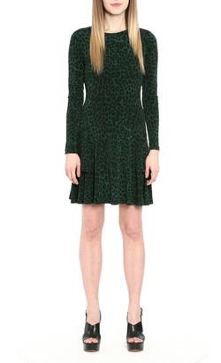 MICHAEL Michael Kors Cheetah Print Matte Jersey Flounce-Hem Dress