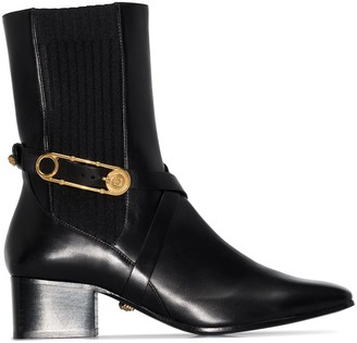 Versace 40mm Medusa safety pin-embellished ankle boots