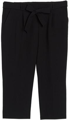 Halogen Waist Tie Cropped Ankle Pants (Plus Size)